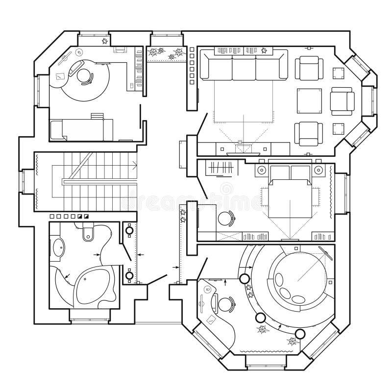 Arkitektoniskt plan av ett hus Orientering av lägenheten med möblemanget i teckningssikten stock illustrationer