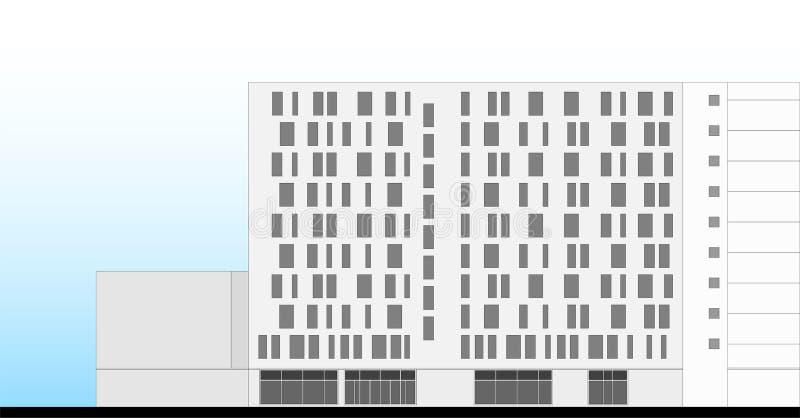 Arkitektoniskt plan för hotellbyggnadsfasad royaltyfri illustrationer