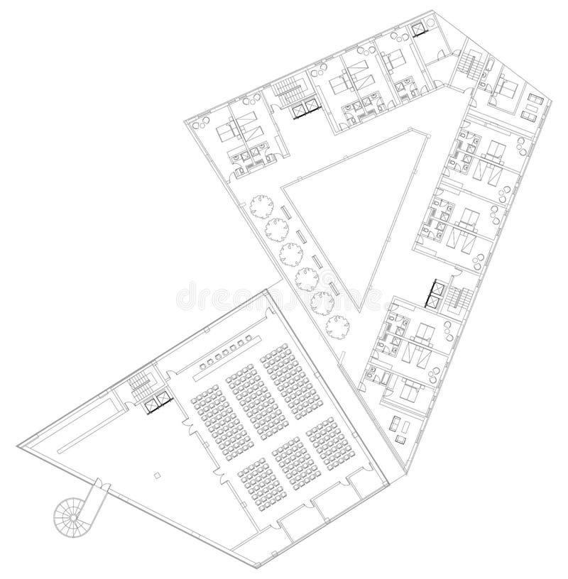 Arkitektoniskt plan för modernt hotellgolv royaltyfri illustrationer