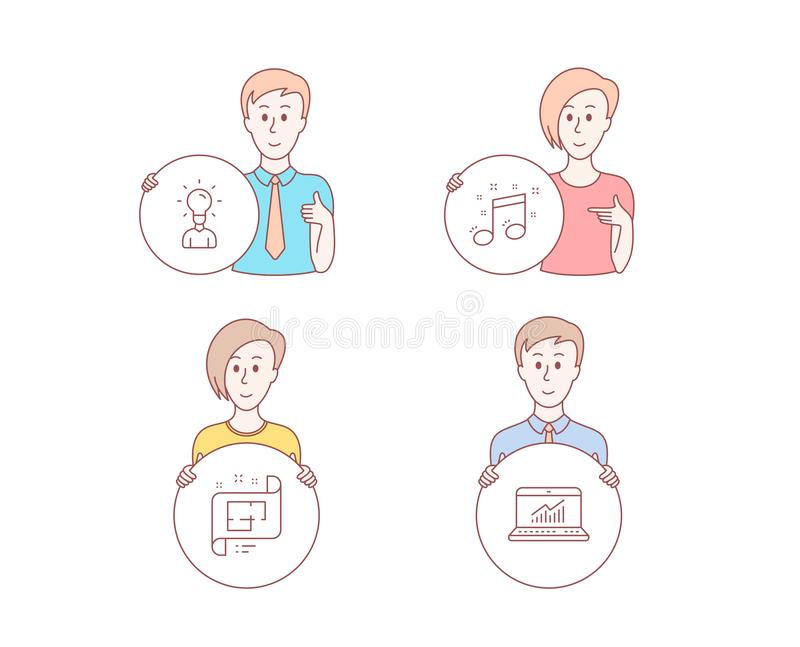 Arkitektoniskt plan, symboler för utbildning och för musikalisk anmärkning Online-statistiktecken vektor royaltyfri illustrationer