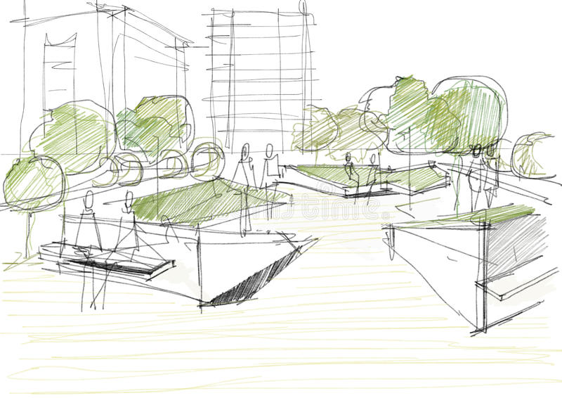 Arkitektoniskt skissa av offentligt parkerar vektor illustrationer