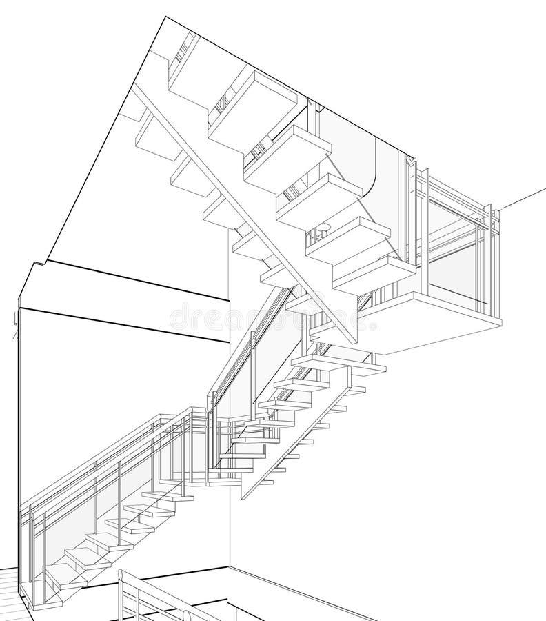 Arkitektoniskt skissa teckningen royaltyfria foton