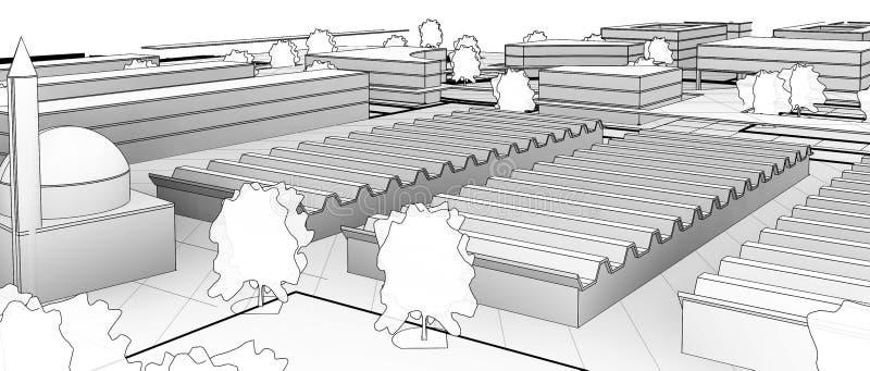 Arkitektoniskt skissa teckningsbyggnadsmodellen arkivfoton