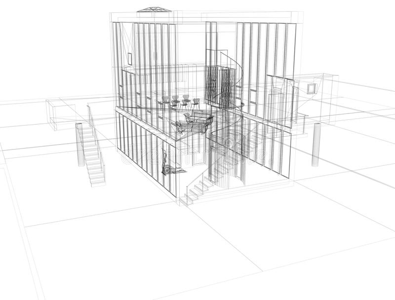 arkitektritningplan s vektor illustrationer