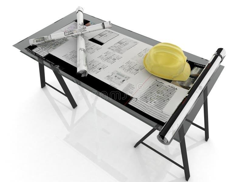 arkitektskrivbord stock illustrationer