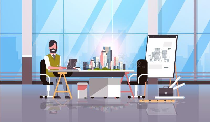 Arkitekttekniker som använder projekt för justerbar ritbord för modell för byggnad för stad för plan för bärbar datorhusritning s royaltyfri illustrationer