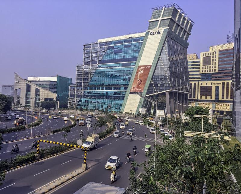 Arkitektur av Cyberstaden eller Cyberhub i Gurgaon, New Delhi, Indien royaltyfri foto