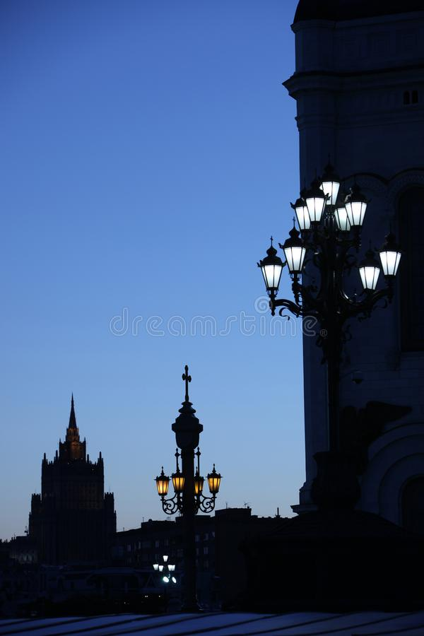 Arkitektur av den gamla staden på natten royaltyfria foton