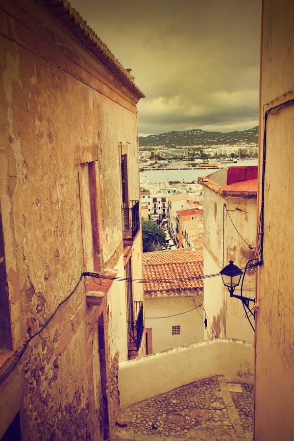 Arkitektur av den gammala staden av Ibiza, Spanien arkivbilder