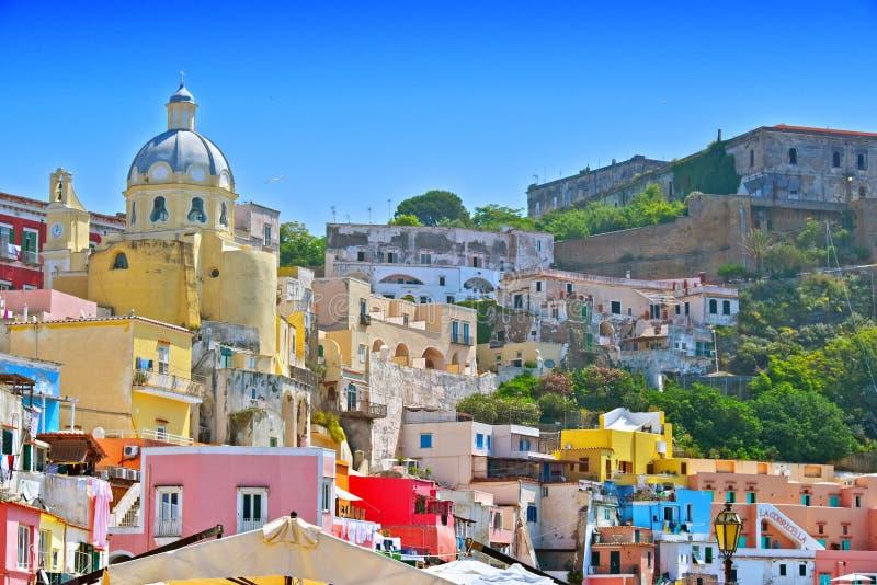 Arkitektur av den Procida ön, Campania, Italien arkivfoto