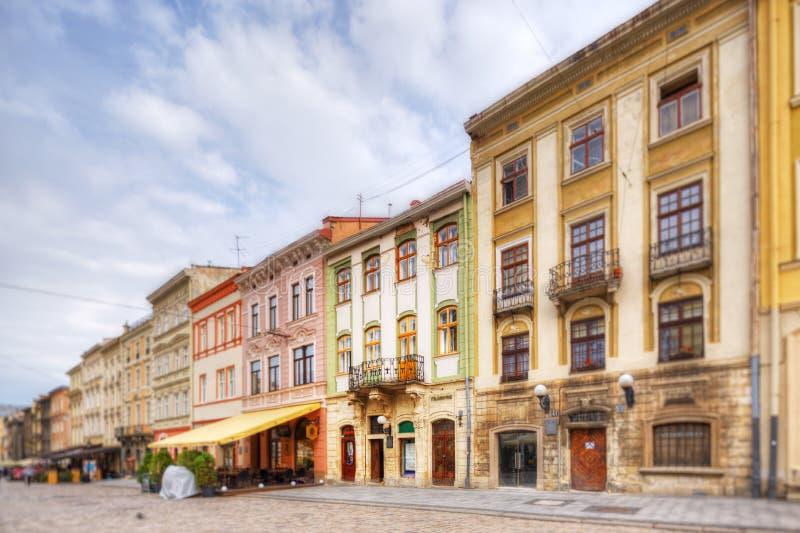 Arkitektur av Lviv ukraine royaltyfria bilder