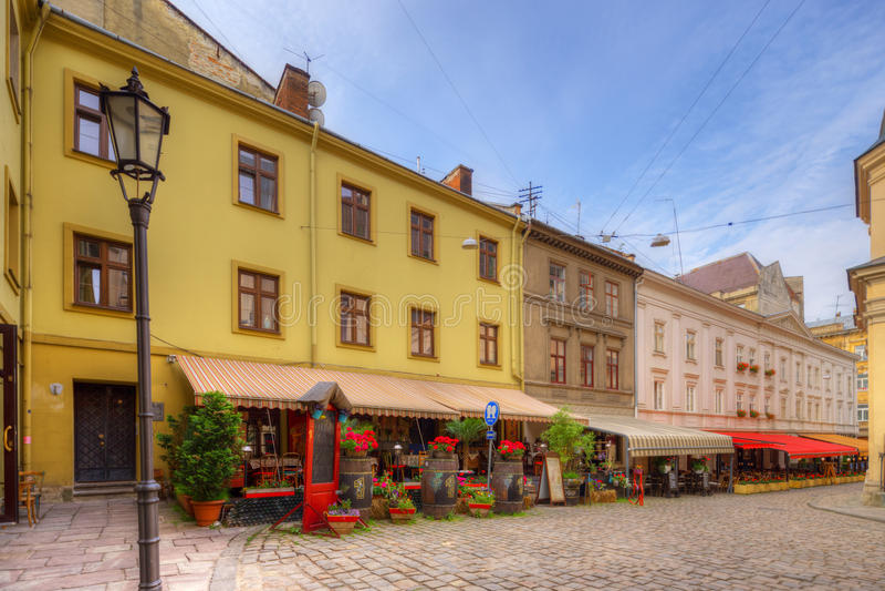 Arkitektur av Lviv ukraine arkivfoton