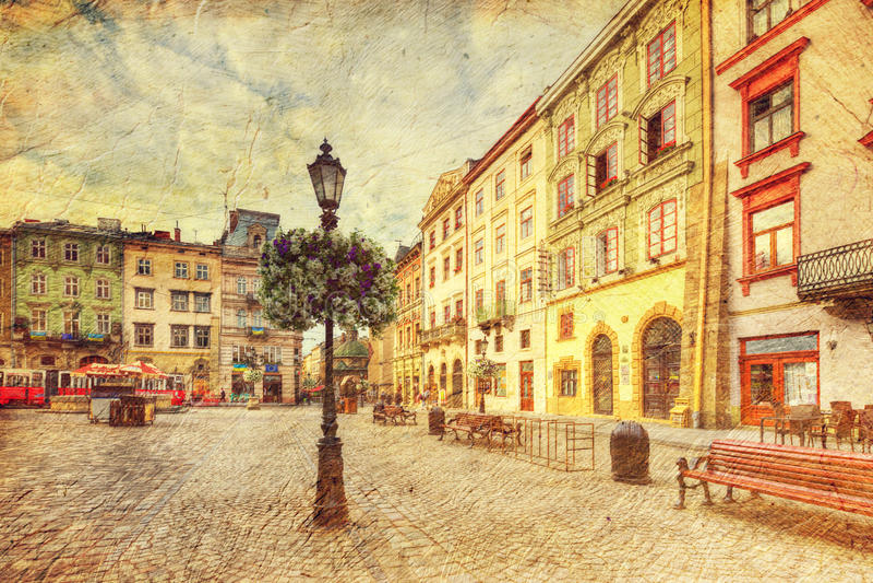 Arkitektur av Lvov ukraine arkivbild