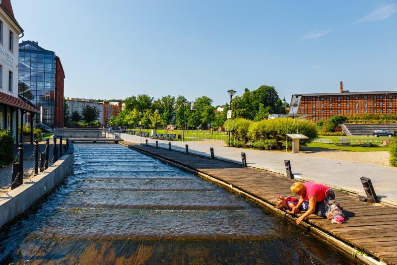 Arkitektur av Mill ön i den Bydgoszcz staden på den Brda floden, Polen arkivfoto