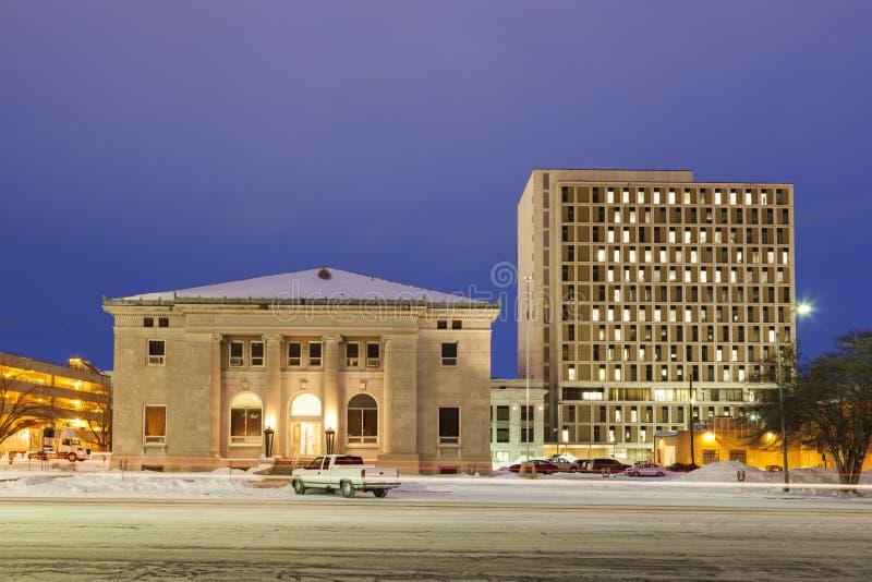 Arkitektur av Topeka på soluppgång royaltyfri bild