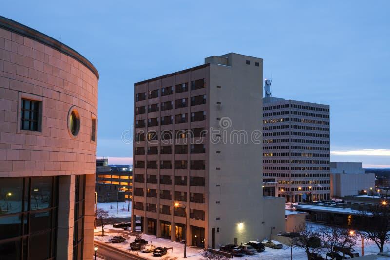Arkitektur av Topeka på soluppgång arkivbild