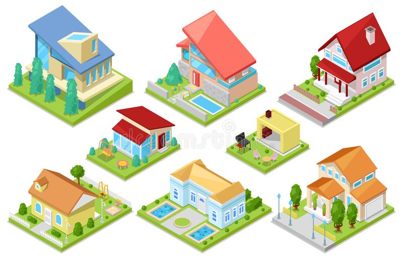 Arkitektur för hus för husvektor isometrisk eller bostads- hem- illustrationuppsättning av hushållningbyggnadsyttersida eller stock illustrationer