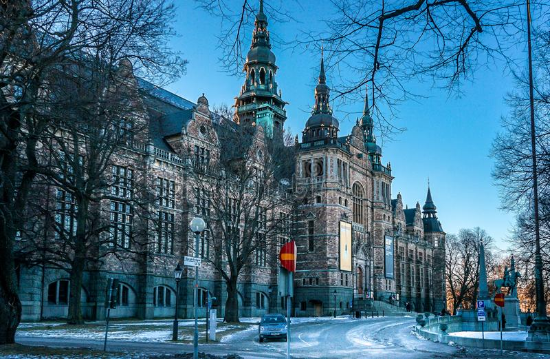 Arkitektur för Sverige härlig vinterslott royaltyfri foto