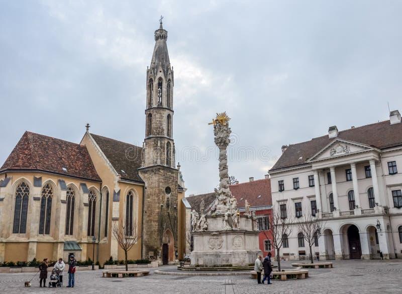 Arkitektur i gator av staden Sopron i Ungern fotografering för bildbyråer