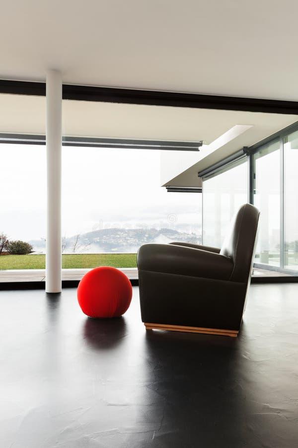 Arkitektur inre av en modern villa fotografering för bildbyråer