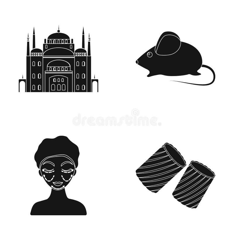 Arkitektur, leksak och annan rengöringsduksymbol i svart stil ansiktsbehandling pastasymboler i uppsättningsamling stock illustrationer