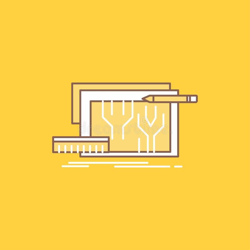 Arkitektur ritning, strömkrets, design som iscensätter den plana linjen fylld symbol H?rlig logoknapp ?ver gul bakgrund f?r UI vektor illustrationer