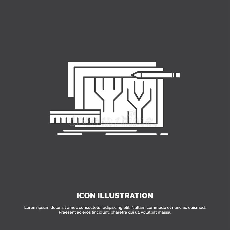 Arkitektur ritning, strömkrets, design som iscensätter symbolen r royaltyfri illustrationer