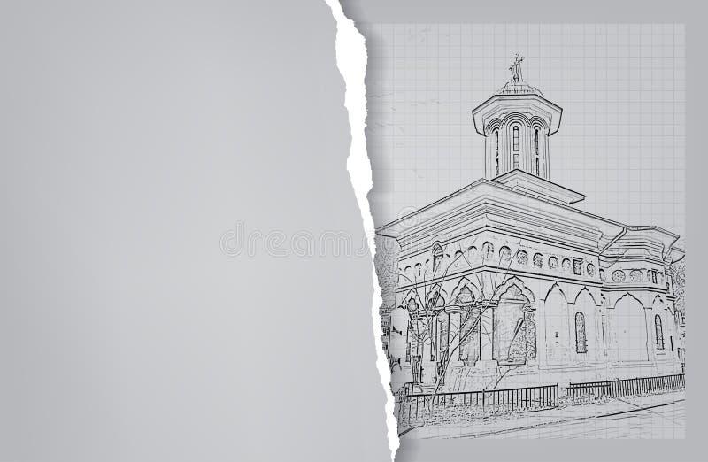 arkitektur skissa Teckning av kyrkan vektor illustrationer