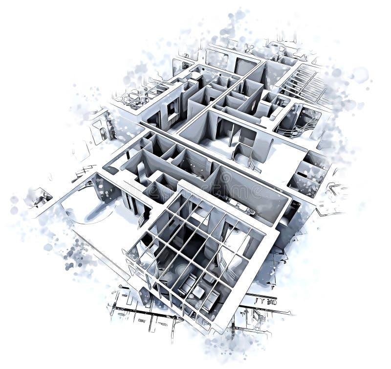 Arkitekturabstrakt begrepp stock illustrationer