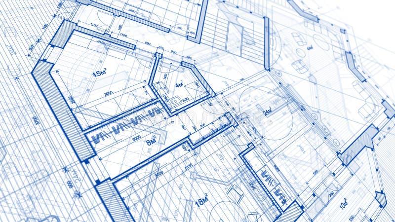Arkitekturdesign: ritningplan - illustration av en planändring stock illustrationer