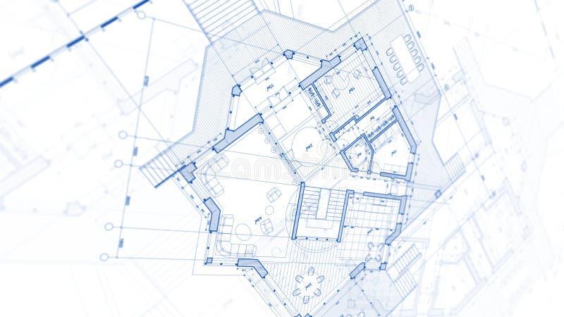 Arkitekturdesign: ritningplan - illustration av en planändring arkivbild