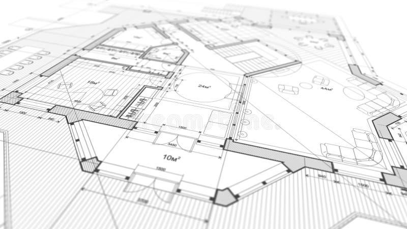 Arkitekturdesign: ritningplan - illustration av en planändring fotografering för bildbyråer