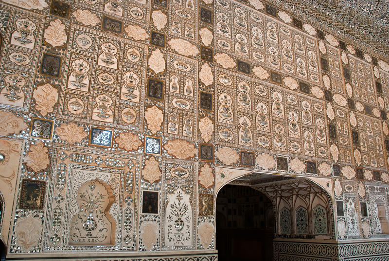 Arkitekturdetalj av Amber Fort, Jaipur, Rajasthan, Indien royaltyfri bild
