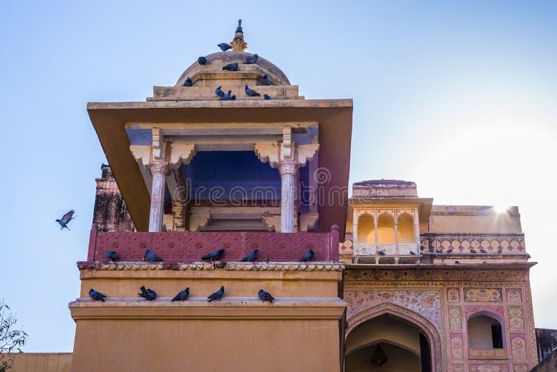 Arkitekturdetaljer på Amber Fort, berömd loppdestination i Jaipur, Rajasthan, Indien arkivbilder