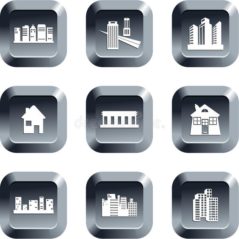 arkitekturknappar vektor illustrationer