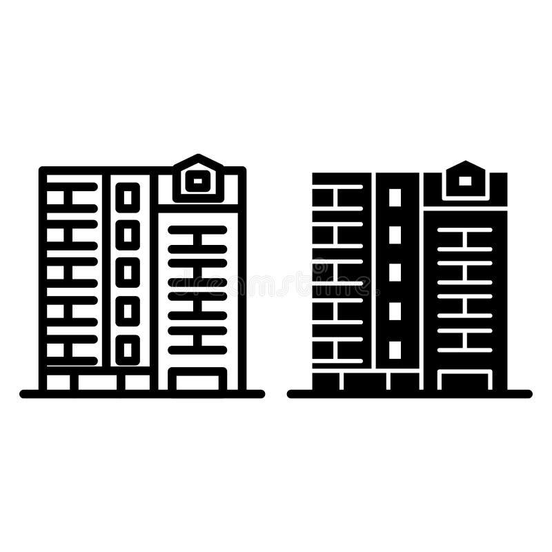 Arkitekturlinje och skårasymbol I stadens centrum husvektorillustration som isoleras på vit Hyreshusöversiktsstil stock illustrationer