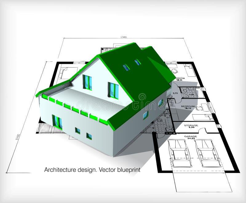 Arkitekturmodell House On Top av ritningar stock illustrationer