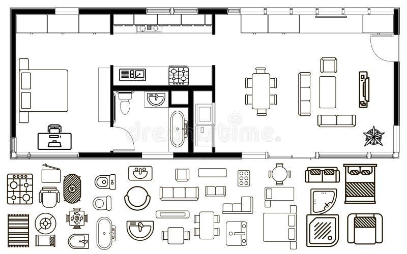 Arkitekturplan i bästa sikt stock illustrationer