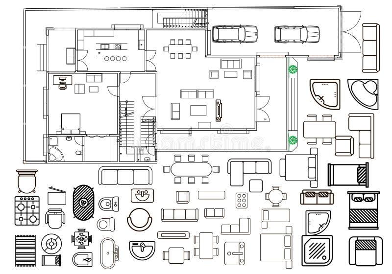 Arkitekturplan med möblemang i bästa sikt vektor illustrationer