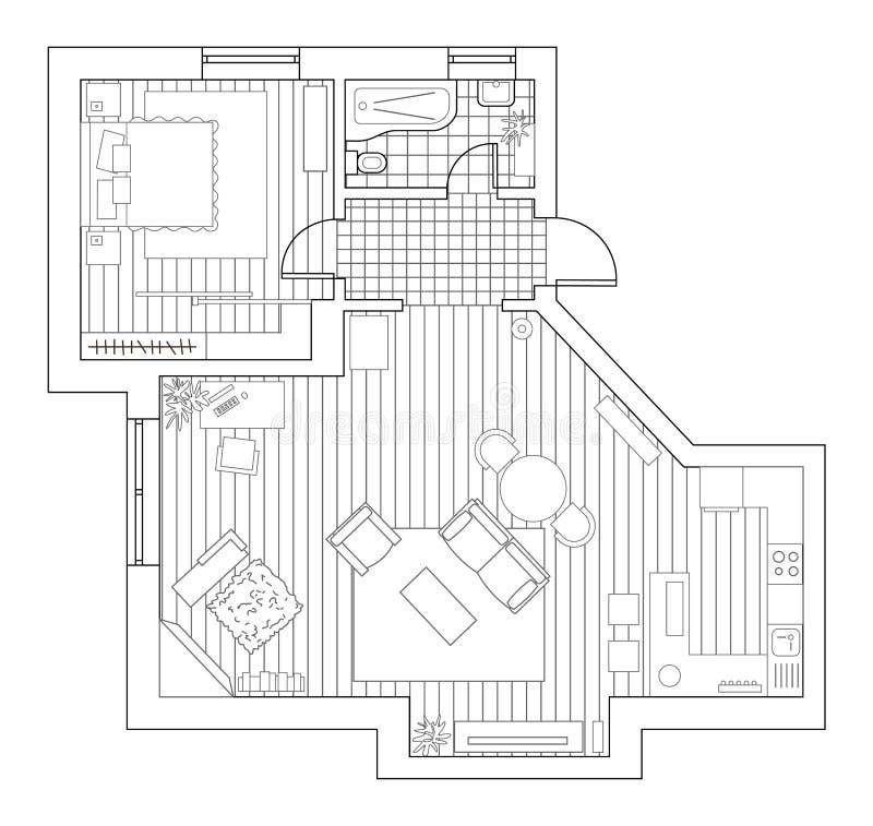 Arkitekturplan med möblemang i bästa sikt för färgläggningdiagram för bok färgrik illustration royaltyfri illustrationer