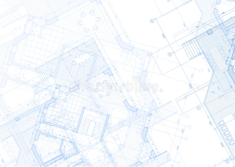Arkitekturritning - husplan vektor illustrationer