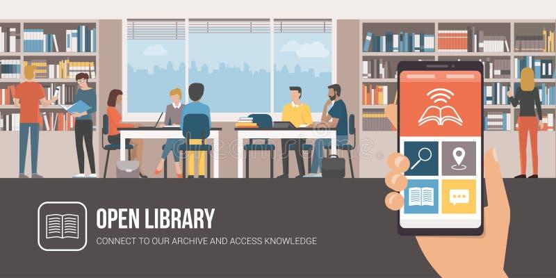Arkiv app och folk som tillsammans studerar royaltyfri illustrationer