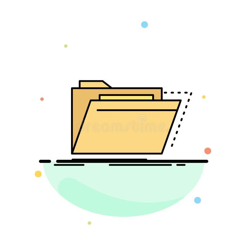 Arkiv katalog, arkiv, mappar, för färgsymbol för mapp plan vektor stock illustrationer