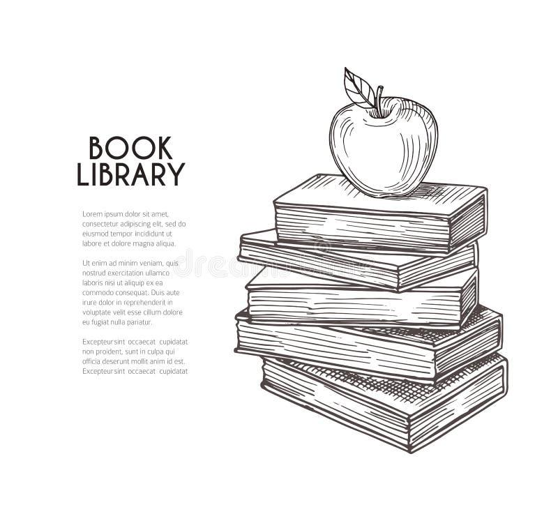 Arkivbakgrund Hand som drar det retro böcker och äpplet Skolutbildning-, läsning- och kunskapsvektorbegrepp stock illustrationer