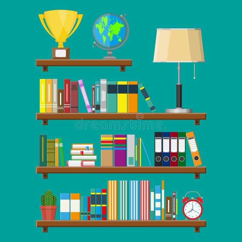 Arkivbokhylla Bokhylla med olika böcker vektor illustrationer