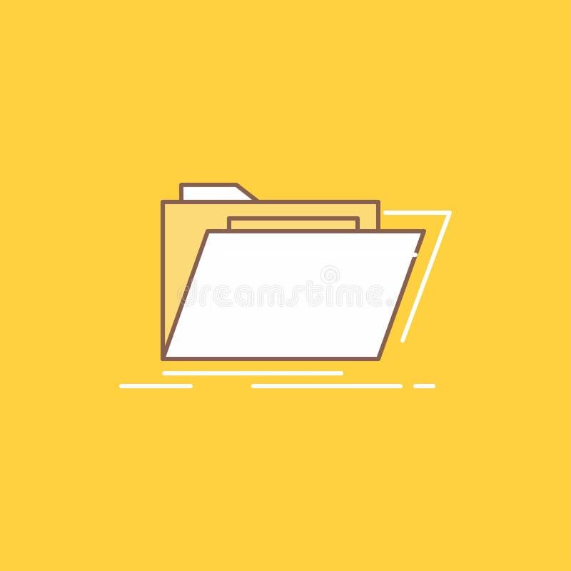 Arkivet katalogen, arkivet, mappar, plan linje för mapp fyllde symbolen H?rlig logoknapp ?ver gul bakgrund f?r UI och UX, stock illustrationer