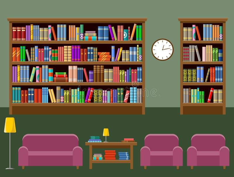 Arkivrum inre Böcker vektor illustrationer