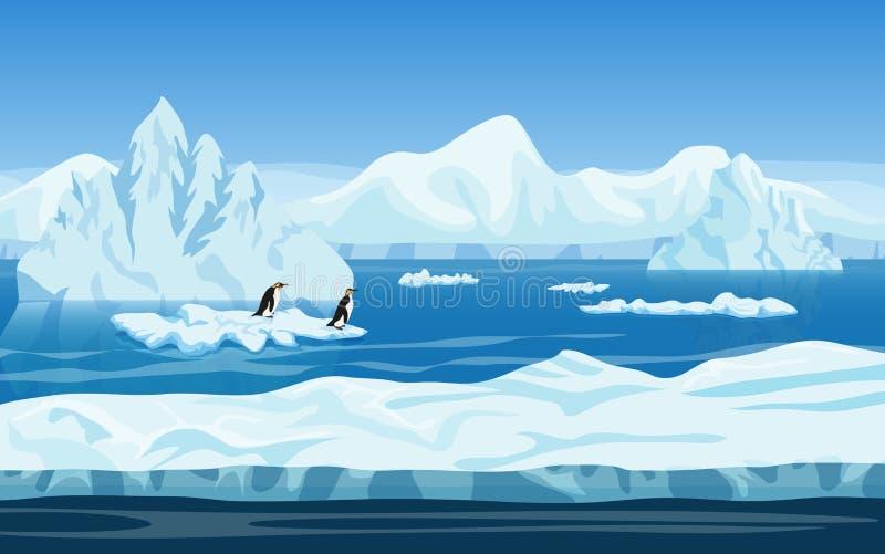 Arktische Eislandschaft des Karikaturnaturwinters vektor abbildung