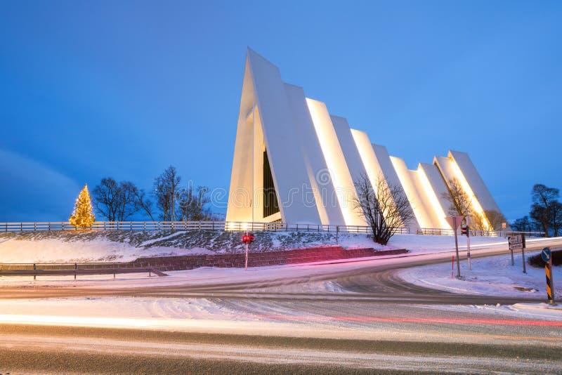 Arktische Kathedrale Tromso Norwegen lizenzfreie stockfotografie