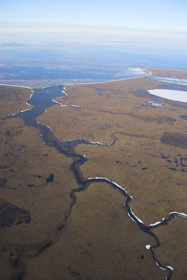 Arktische Tundra von der Luft lizenzfreie stockfotos